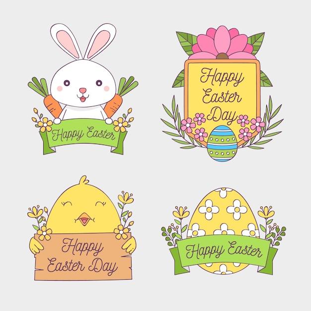 토끼와 계란 손으로 그린 부활절 배지 컬렉션 무료 벡터