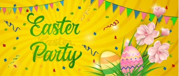 Easter banner design Free Vector