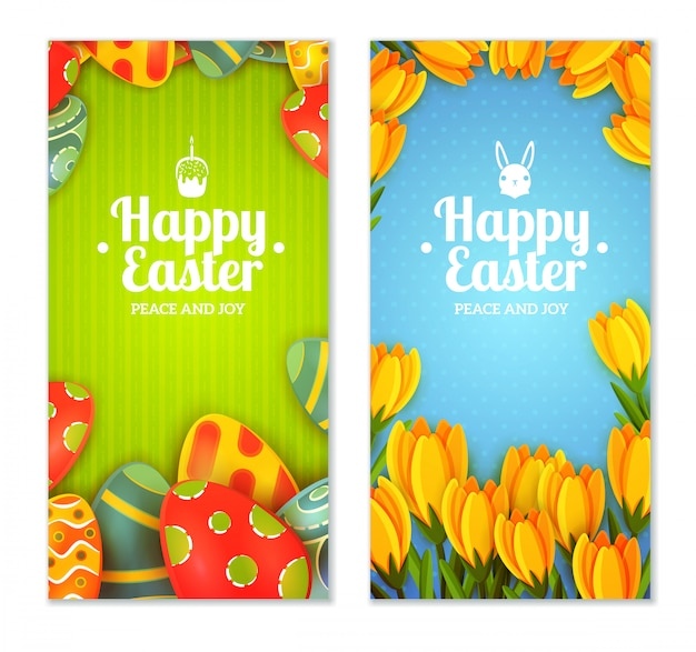 Easter banner set Free Vector