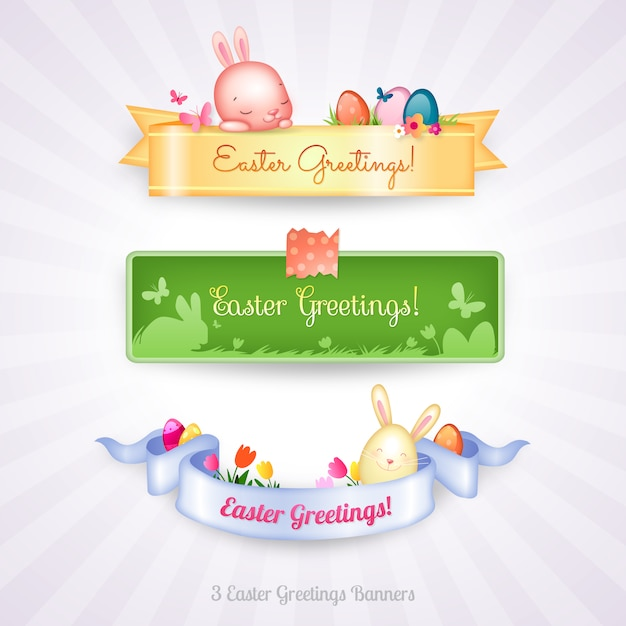 Easter banners collection Premium Vector