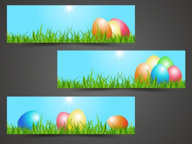 Easter banners collection Free Vector