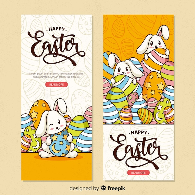 Easter banners Free Vector