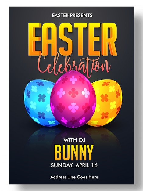 Easter Brochure Template With Three Decorative Eggs Vector
