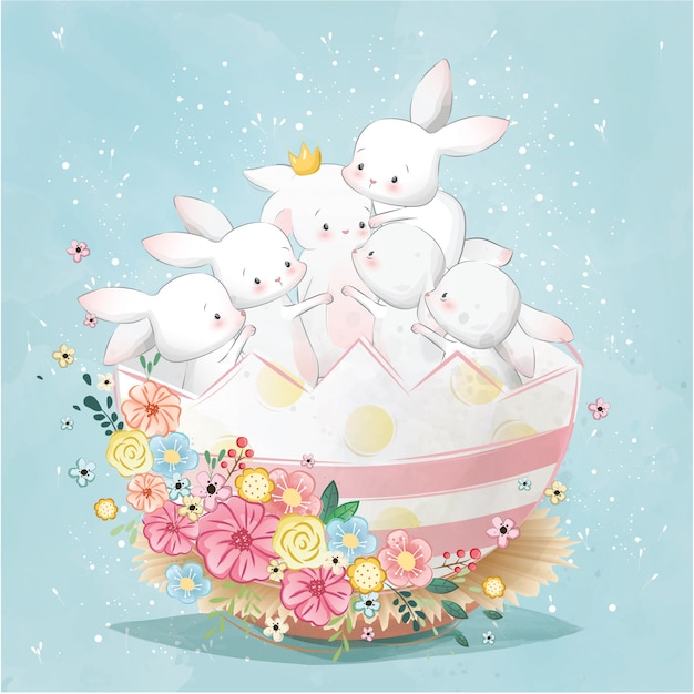Easter bunnies in the egg Premium Vector