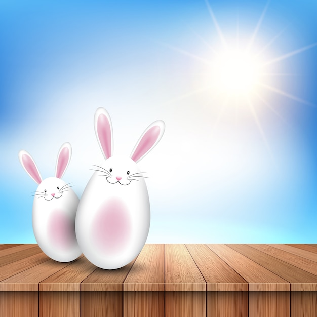 Easter bunnies on a wooden table looking out to a sunny sky Free Vector