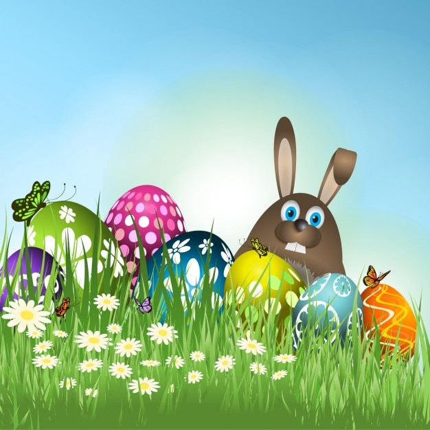 Easter Bunny and Eggs Background Free Vector