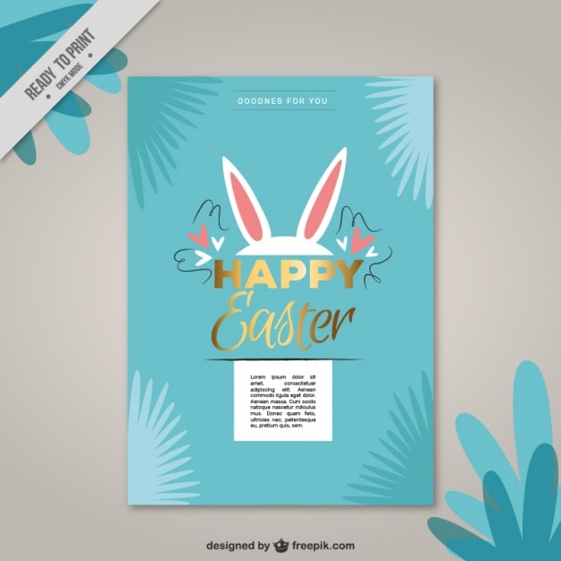 Easter bunny card Free Vector