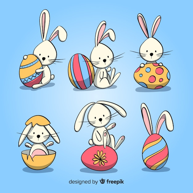 Easter bunny collection Free Vector