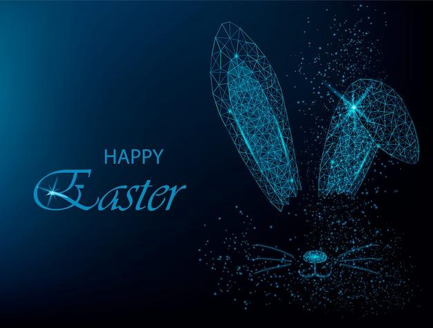 Easter bunny ears. polygonal rabbit ears Premium Vector
