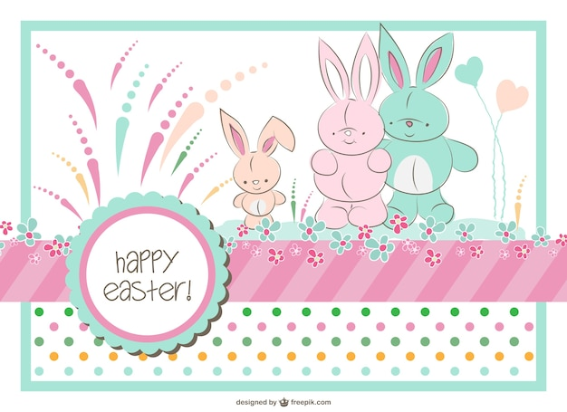 Easter bunny family Free Vector
