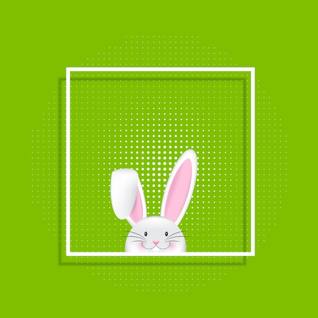 Easter bunny in white frame Free Vector