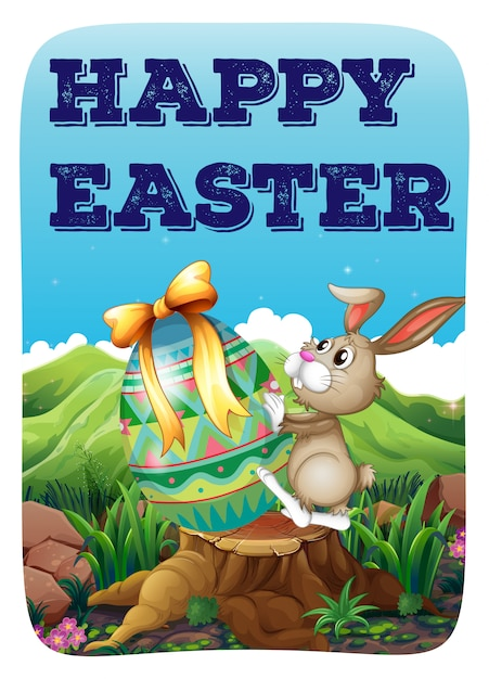 Easter bunny with decorated egg Free Vector