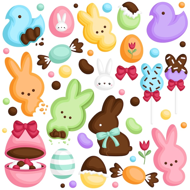 Easter candy set Premium Vector