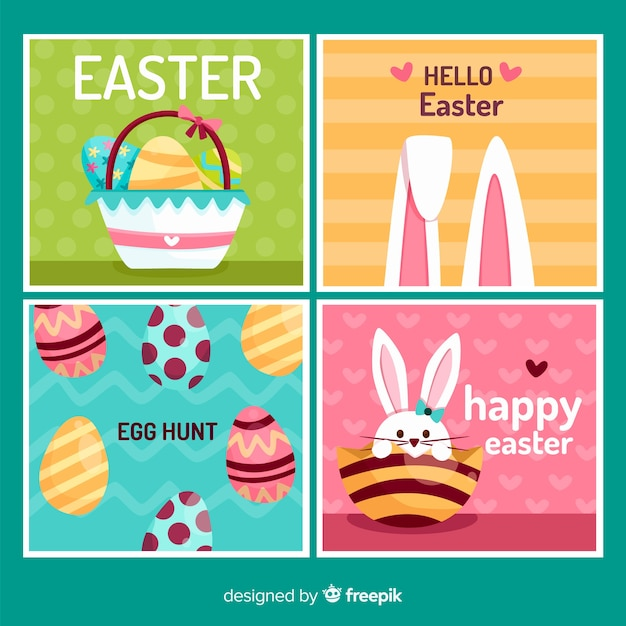 Easter card collection Free Vector