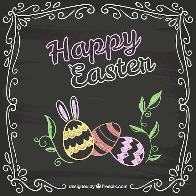 Easter card in chalkboard style Free Vector
