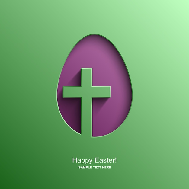 キリスト教の十字架、イースターの背景をイメージした卵の形をしたイースターカード Premiumベクター