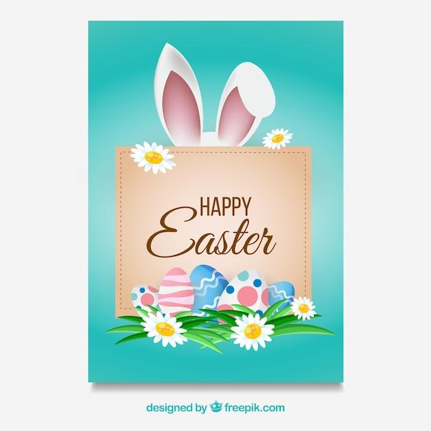 Easter card template with frame Free Vector