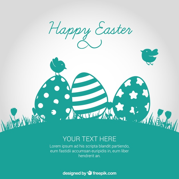Easter card in turquoise tone Free Vector