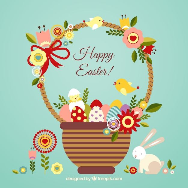 Easter card with a cute basket Free Vector