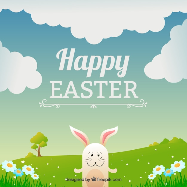 Easter card with a happy bunny