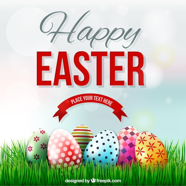 Easter card with decorated eggs on the grass vector free download easter card with decorated eggs on the grass free vector m4hsunfo