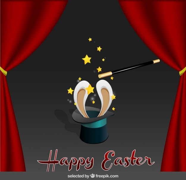 Easter card with magician hat Free Vector