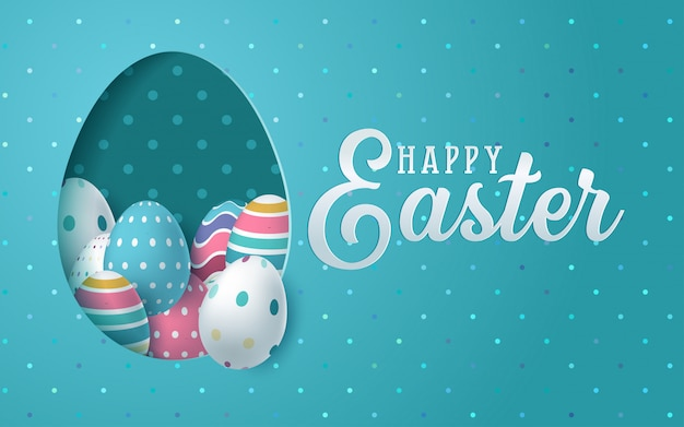 Easter card with paper cut egg shape frame with spring flowers. Premium Vector