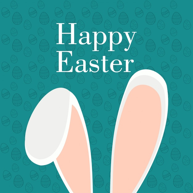 Easter card with rabbit ears Free Vector