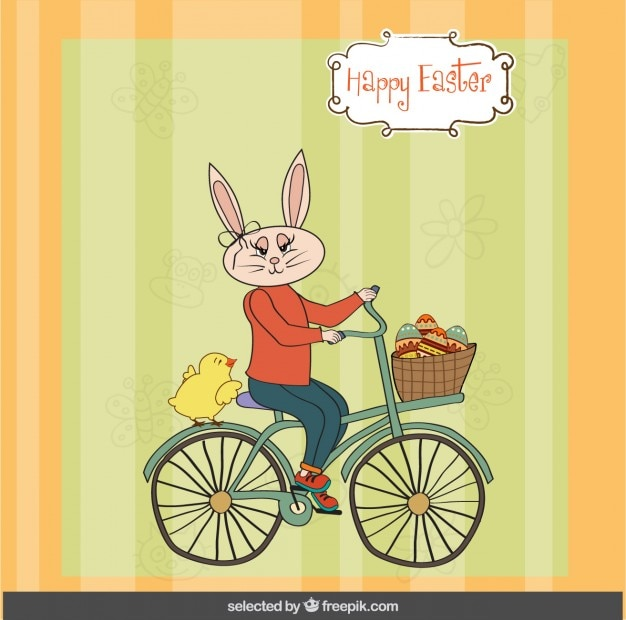 Easter card with rabbit riding a bike Free Vector