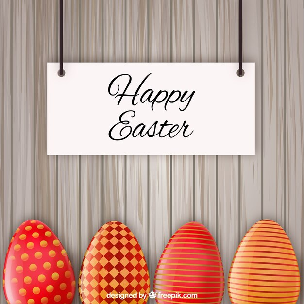 Easter card with red decorated eggs Vector – Easter Card