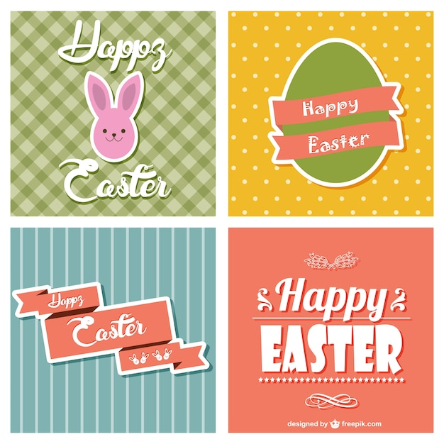 Easter cards collection Free Vector