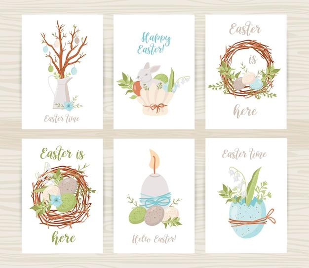 卵、ウサギ、花柄のイースターカードテンプレート。グリーティングカードとイースターの招待状のイラスト Premiumベクター