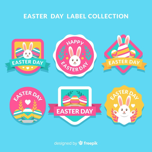 Easter day badge collection Free Vector