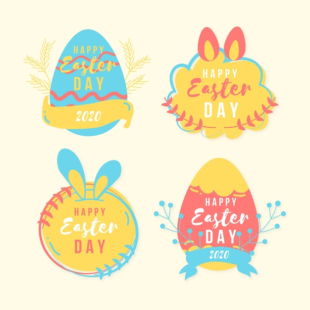 Easter day badge hand drawn with colourful eggs and ribbon Free Vector
