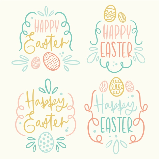 Easter day badge hand drawn with eggs and lettering Free Vector