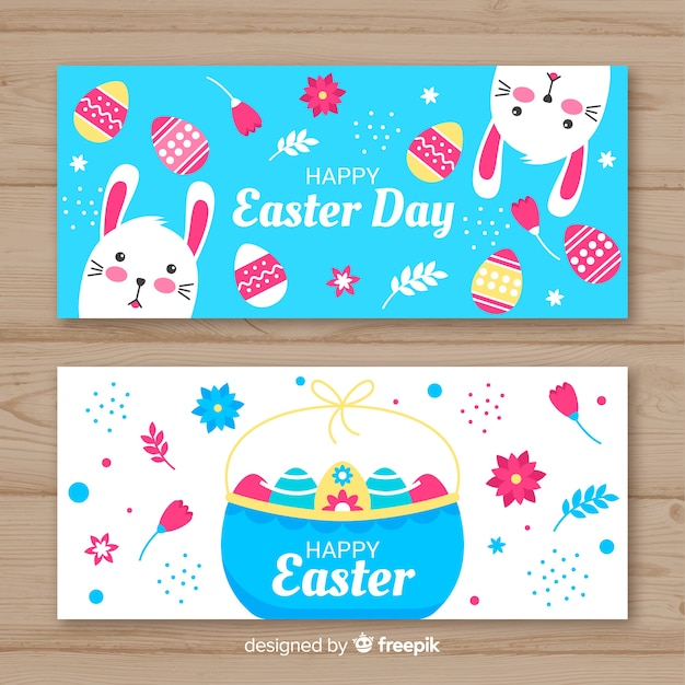Easter day banner Free Vector