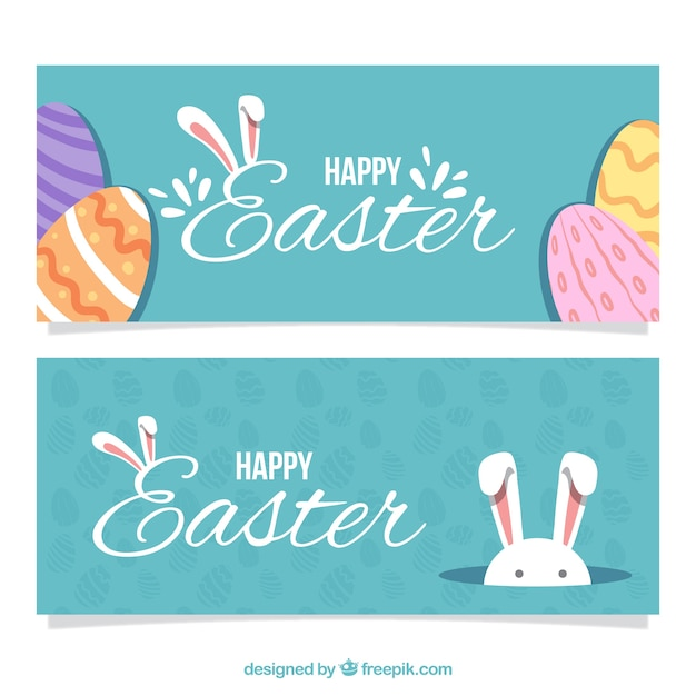 Easter day banners in vintage design Free Vector
