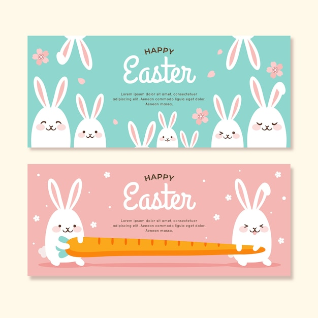 Easter day banners with bunnies Free Vector