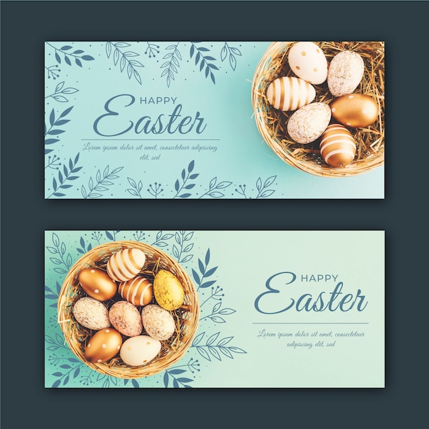 Easter day banners with eggs in basket Free Vector