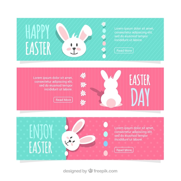 Easter day banners Free Vector