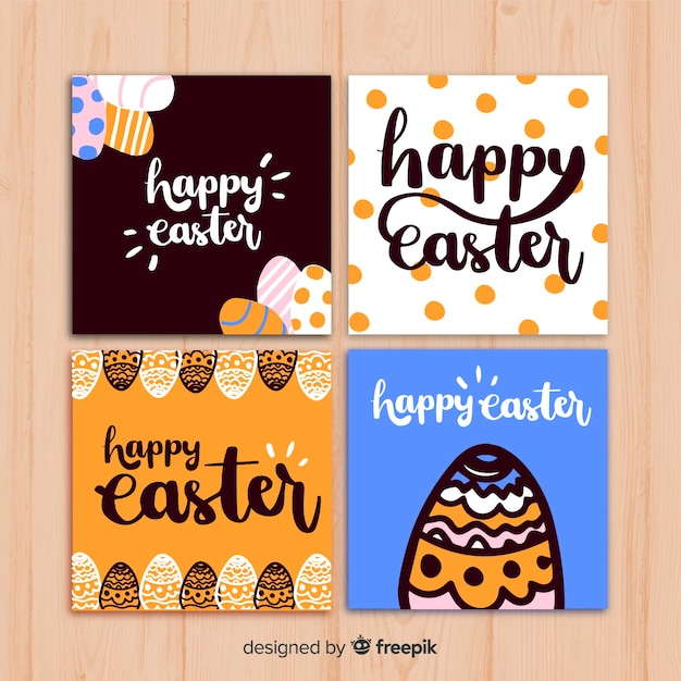 Easter day card collection Free Vector