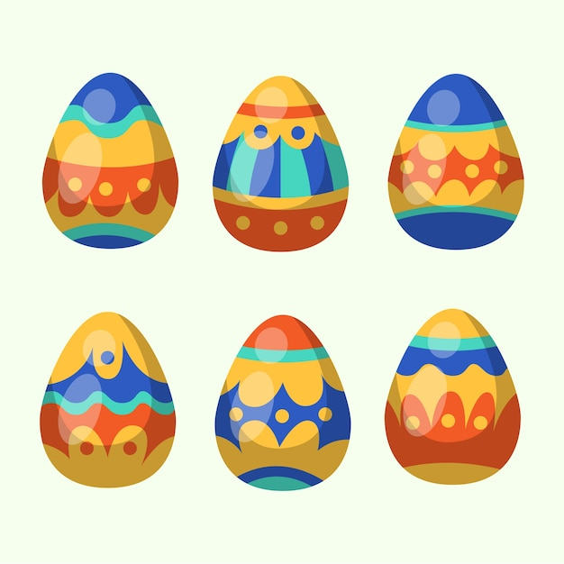 Easter day egg collection in flat design Free Vector