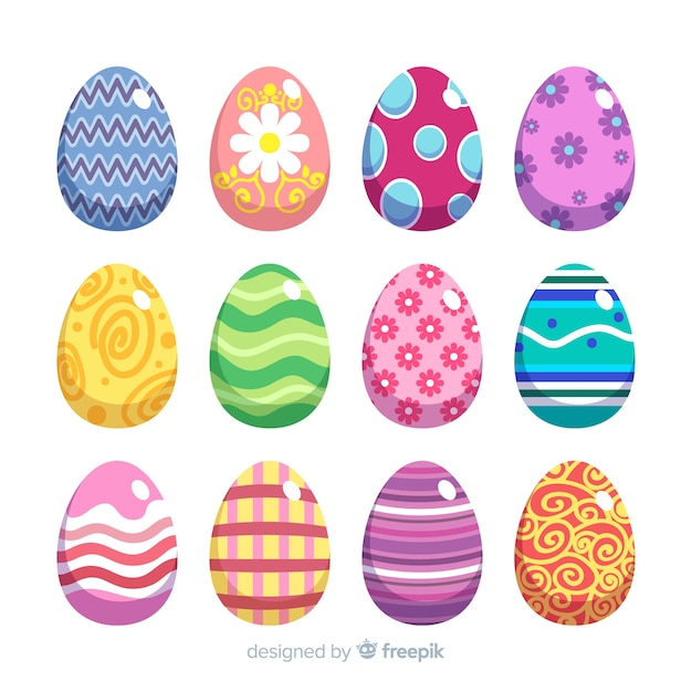 Easter day egg collection Free Vector