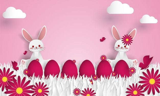 Easter day greeting background. Premium Vector