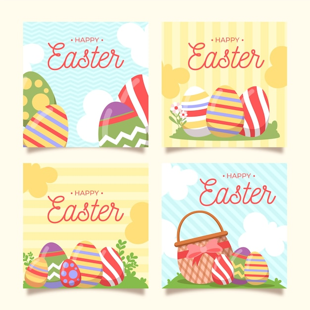 Easter day illustrated instagram posts set Free Vector