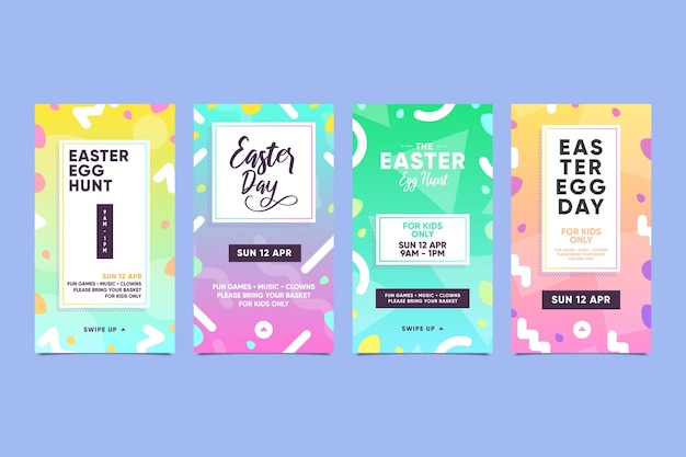 Easter day insta stories set Free Vector