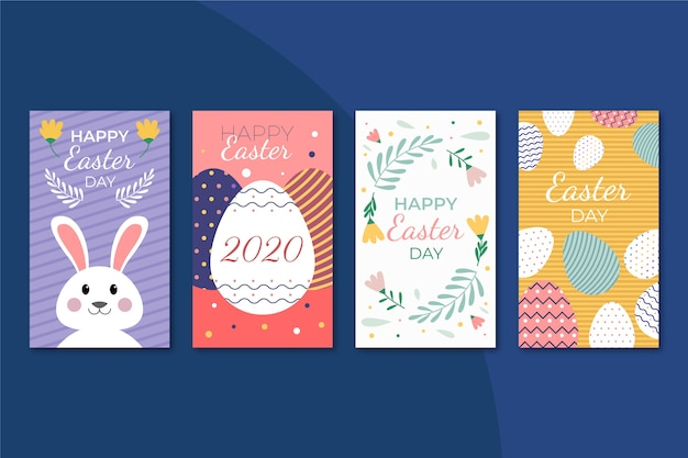 Easter day instagram post collection design Free Vector