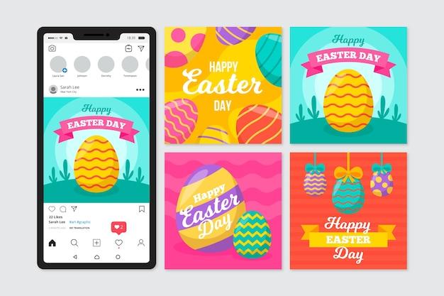 Пасхальный день в instagram с красочными яйцами Бесплатные векторы