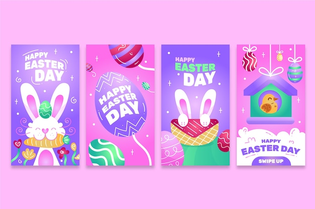 Пасхальный день instagram рассказы дизайн коллекции Бесплатные векторы