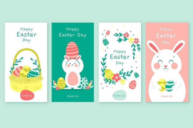 Easter day instagram stories collection Free Vector